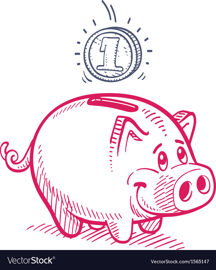 Piggy bank drawing vector | Price: 1 Credit (USD $1)