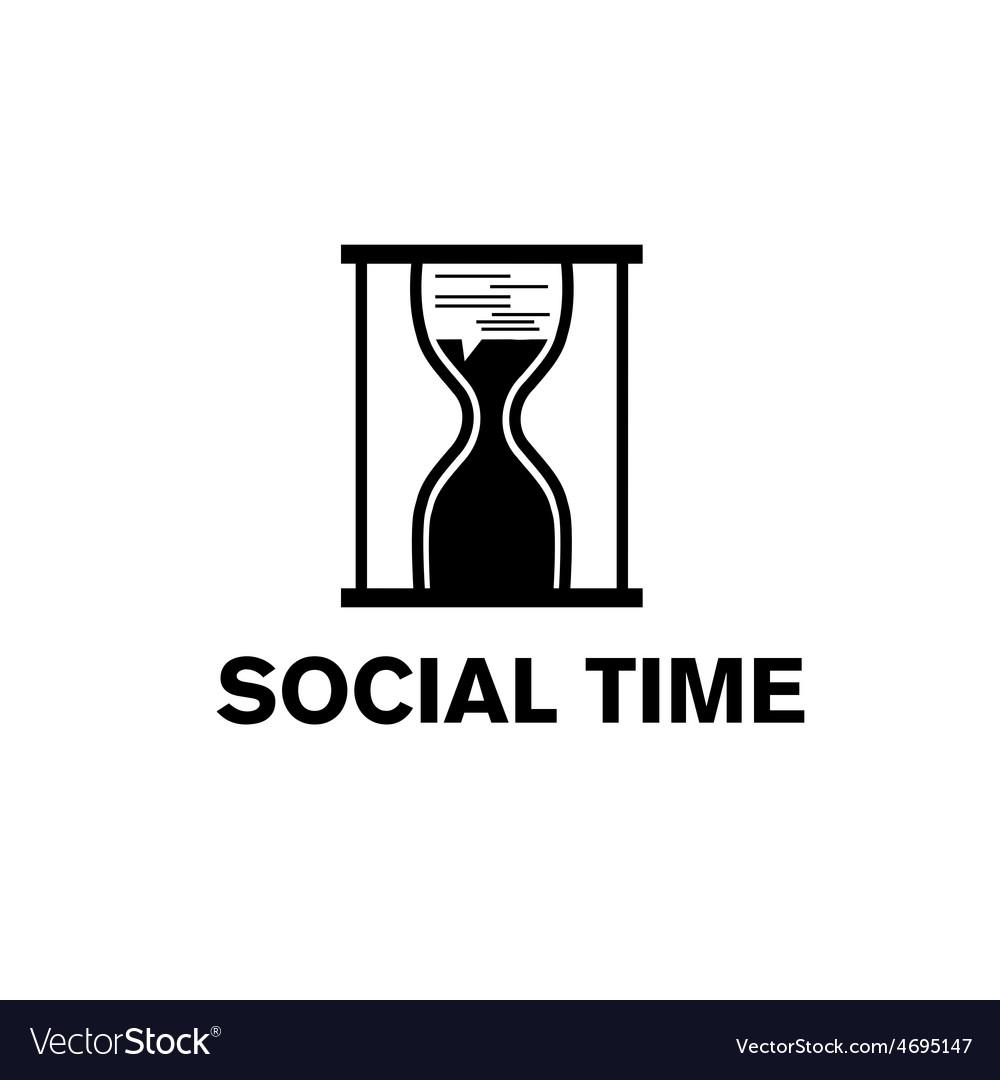 Sandglass social time concept vector | Price: 1 Credit (USD $1)