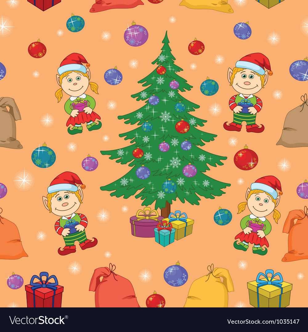 Seamless christmas background babies and tree vector | Price: 1 Credit (USD $1)