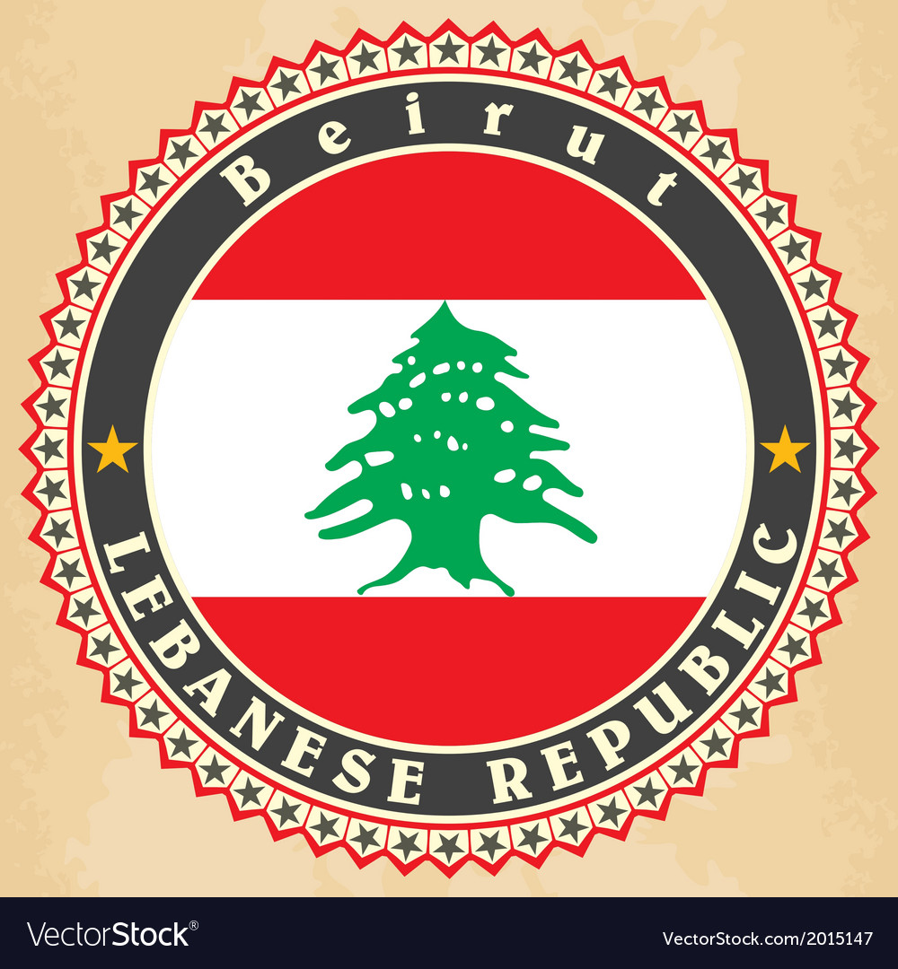 Vintage label cards of lebanon flag vector | Price: 1 Credit (USD $1)