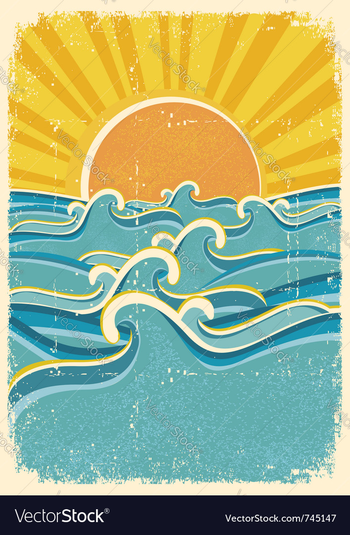 Vintage summer poster vector | Price: 1 Credit (USD $1)