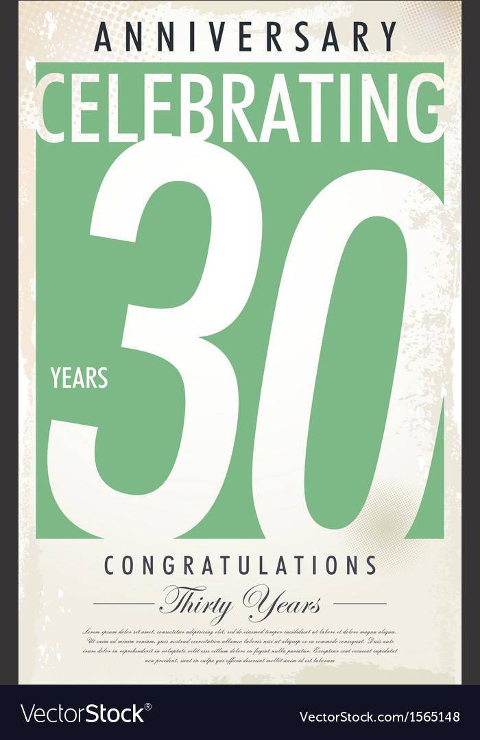 30 years anniversary retro background vector | Price: 1 Credit (USD $1)