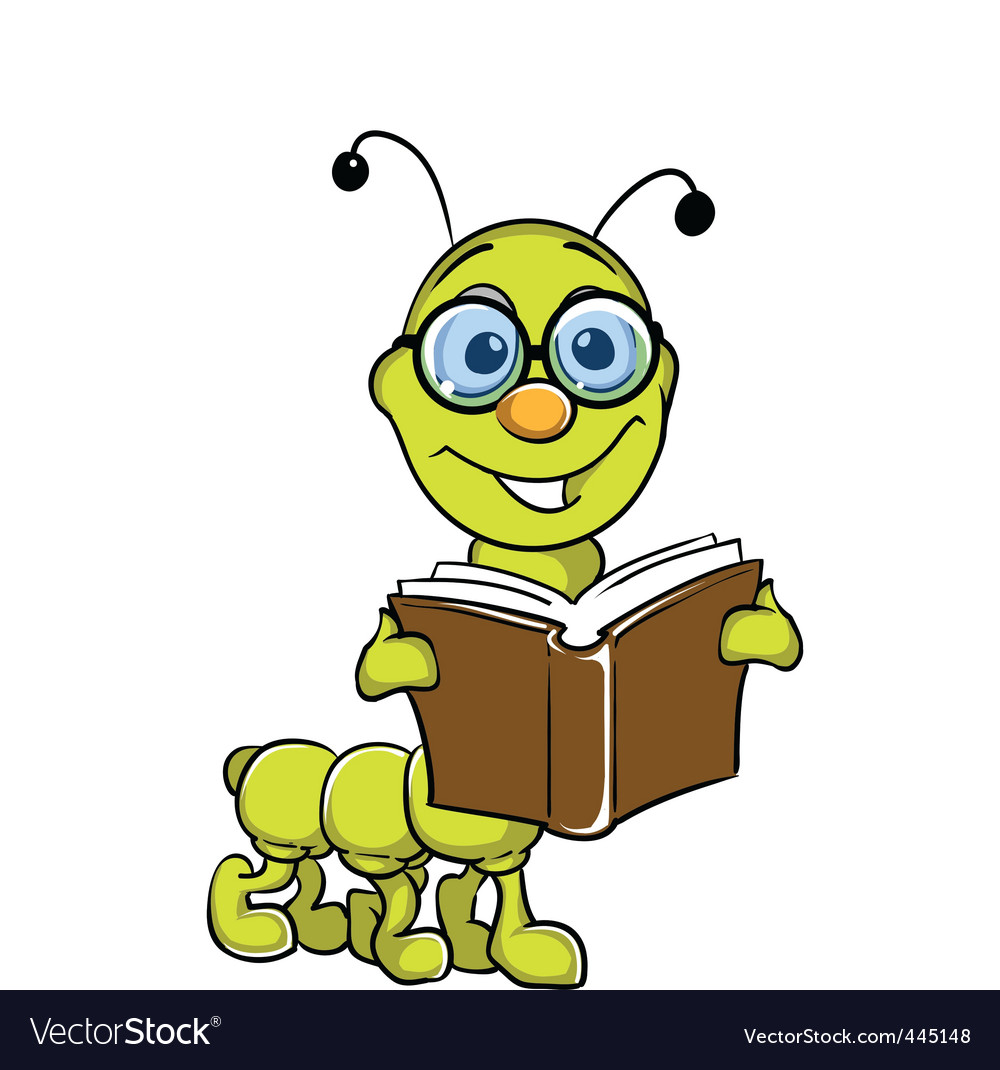 Caterpillar holding book vector | Price: 1 Credit (USD $1)