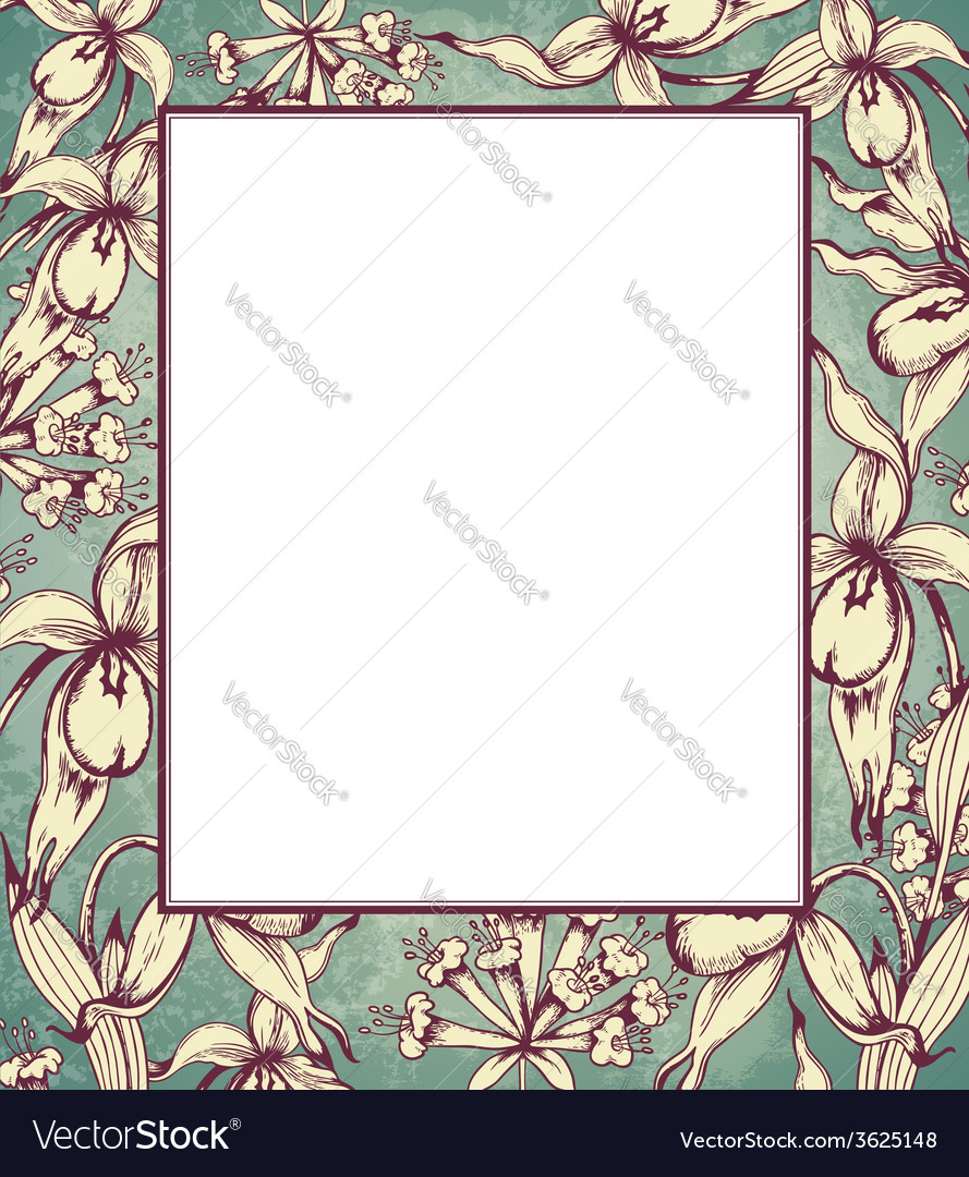 Decorative hand drawn floral frame with orchids vector | Price: 1 Credit (USD $1)