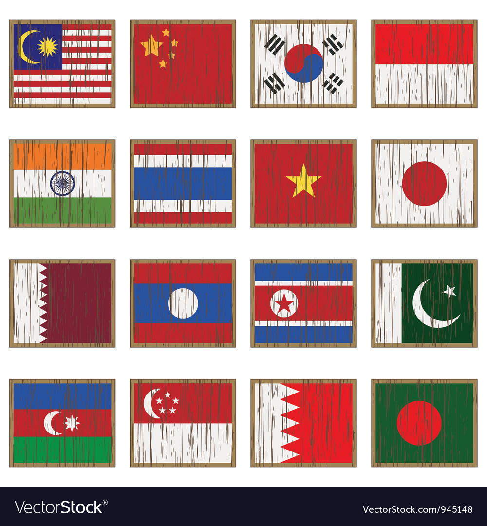 Distressed asian flags vector | Price: 1 Credit (USD $1)