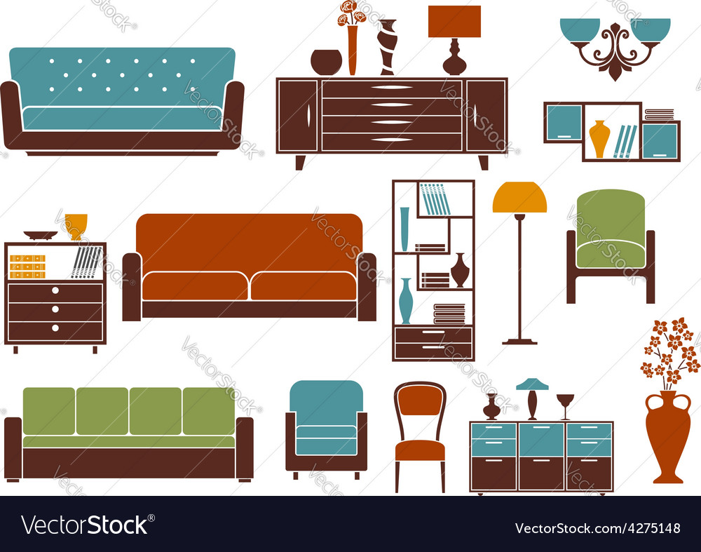 Flat furniture and interior accessories vector | Price: 1 Credit (USD $1)