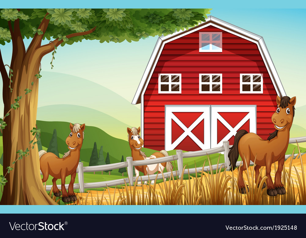 Horses at the farm near the red barnhouse vector | Price: 3 Credit (USD $3)