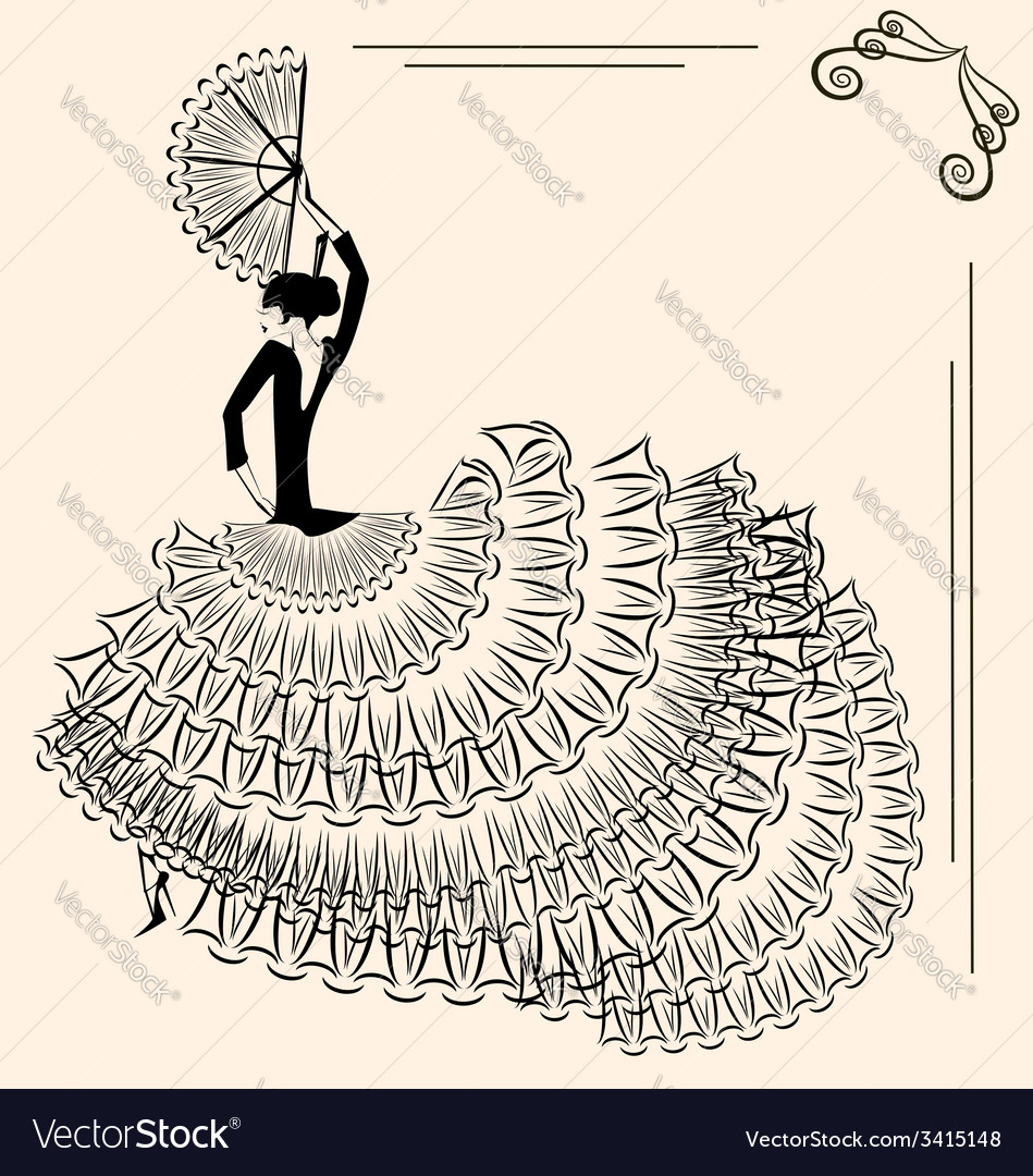 Image of flamenco dancer with fan vector | Price: 1 Credit (USD $1)
