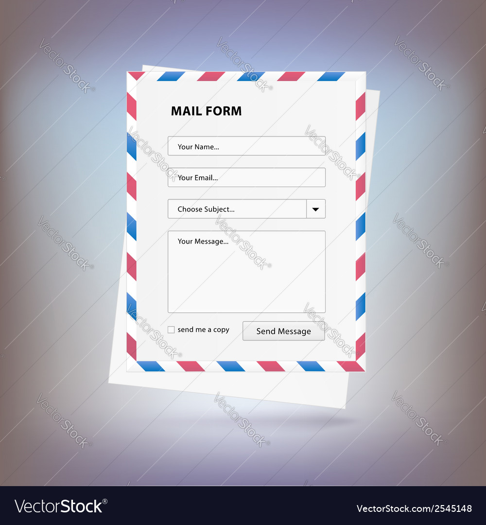 Mail form to send a message from the site vector | Price: 1 Credit (USD $1)