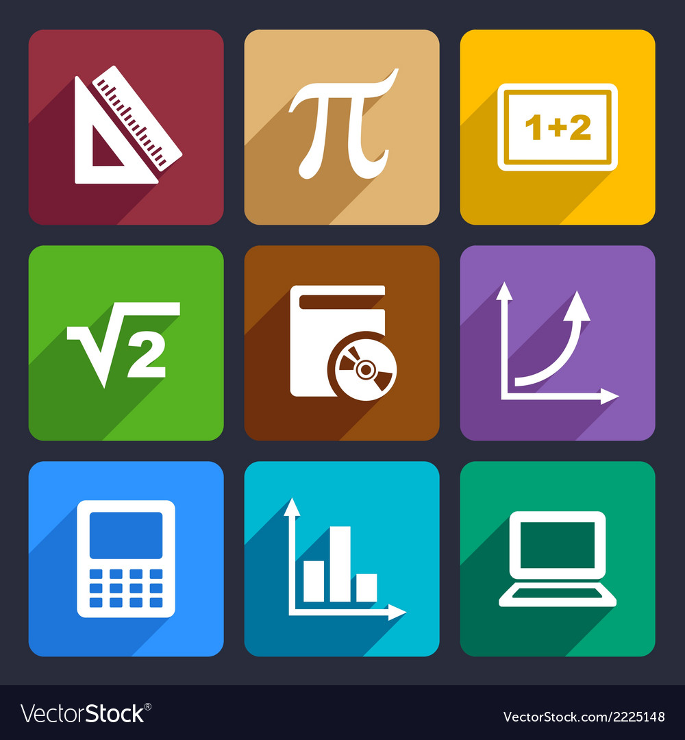 Mathematics flat icons set 52 vector | Price: 1 Credit (USD $1)