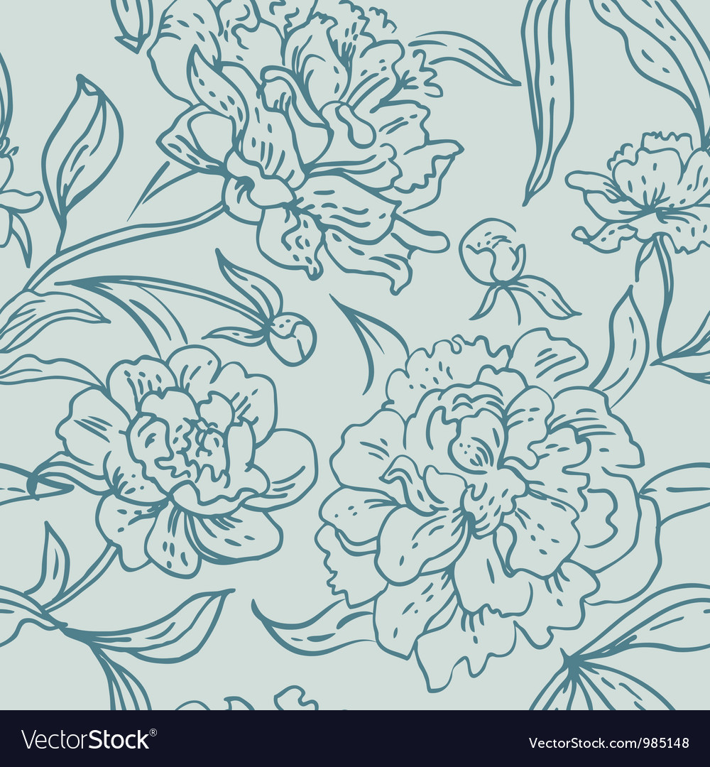 Peony seamless pattern vector | Price: 1 Credit (USD $1)