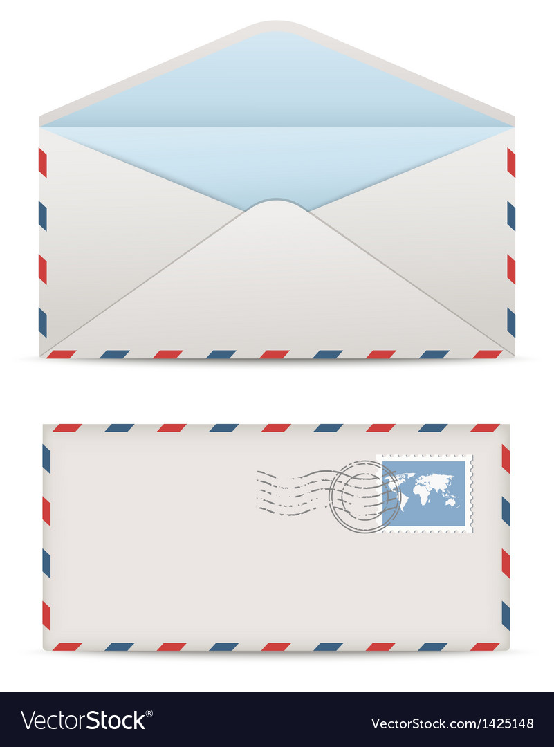 Postage envelopes with stamps vector | Price: 1 Credit (USD $1)