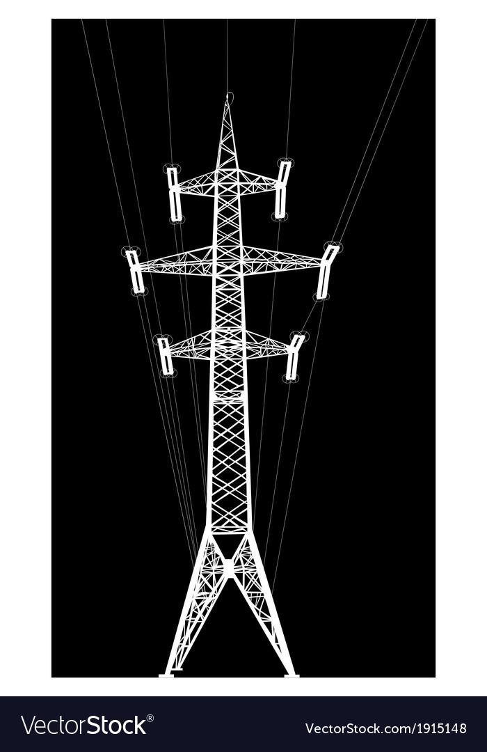 Power transmission tower with wires vector | Price: 1 Credit (USD $1)