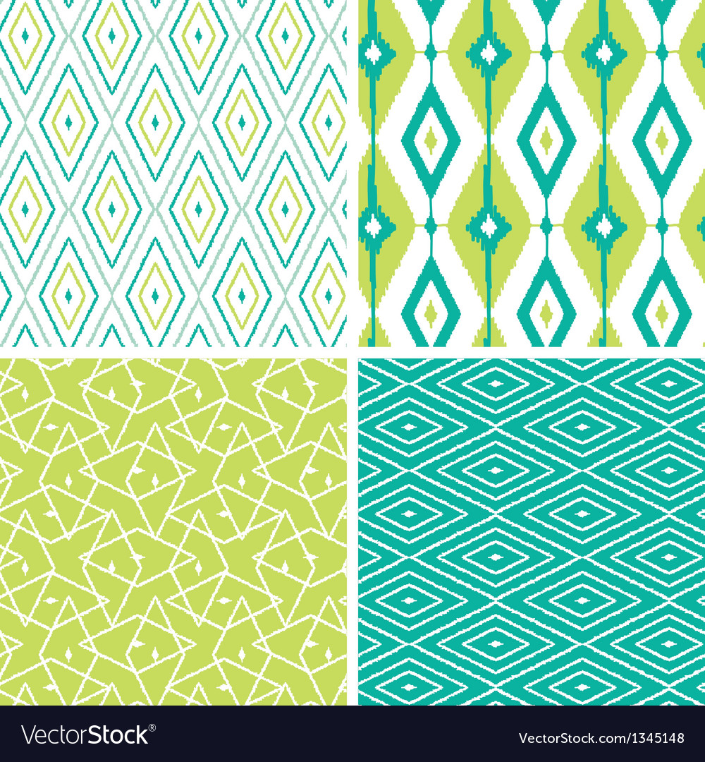 Set of green ikat diamond seamless patterns vector | Price: 1 Credit (USD $1)