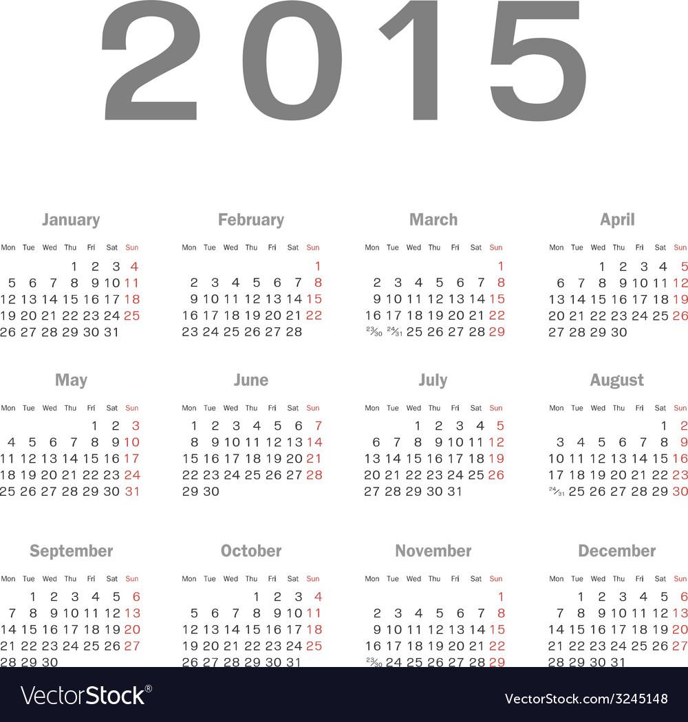 Simple european 2015 year calendar vector | Price: 1 Credit (USD $1)