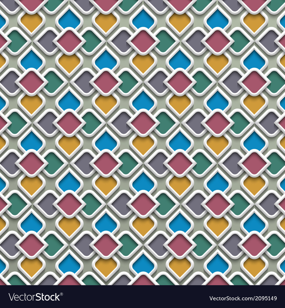 3d colored seamless pattern in islamic style vector | Price: 1 Credit (USD $1)