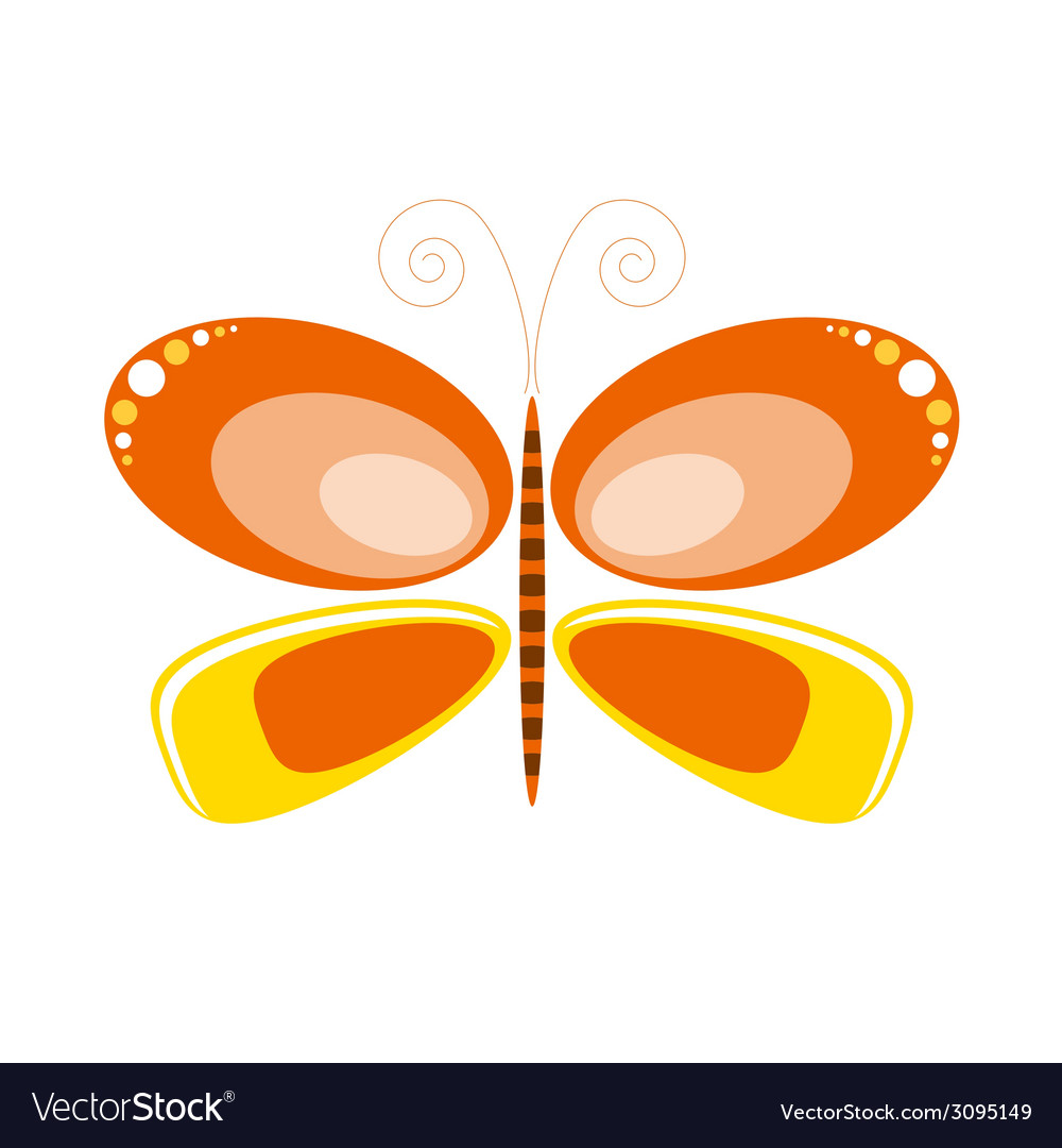 Butterfly orange art vector | Price: 1 Credit (USD $1)