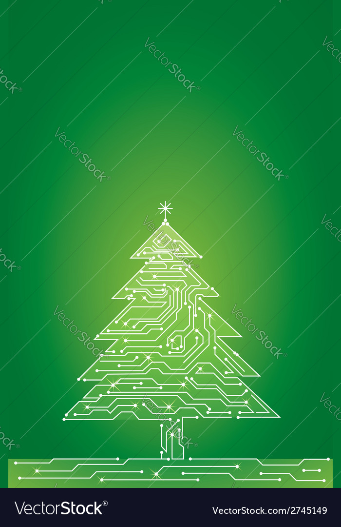 Card with christmas tree vector | Price: 1 Credit (USD $1)