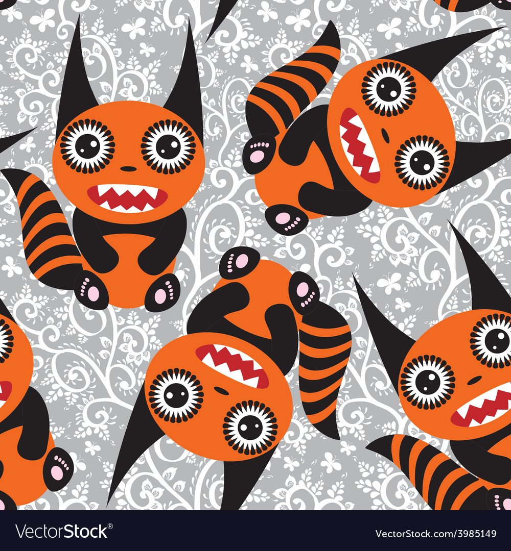 Cute tsartoon orange monster with a striped tail vector | Price: 1 Credit (USD $1)