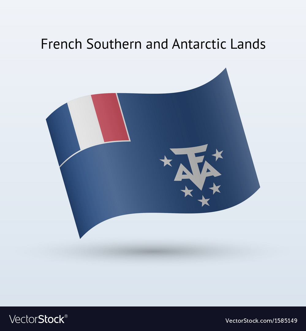French southern and antarctic lands flag waving vector | Price: 1 Credit (USD $1)