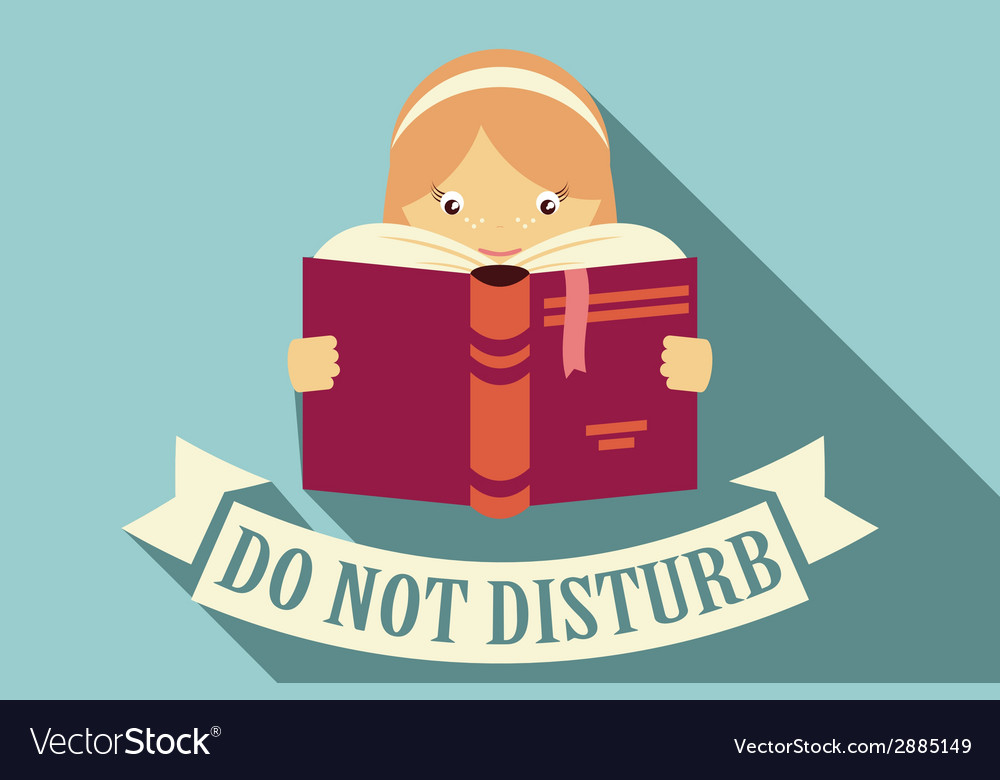 Girl reading a book do not disturb vector | Price: 1 Credit (USD $1)