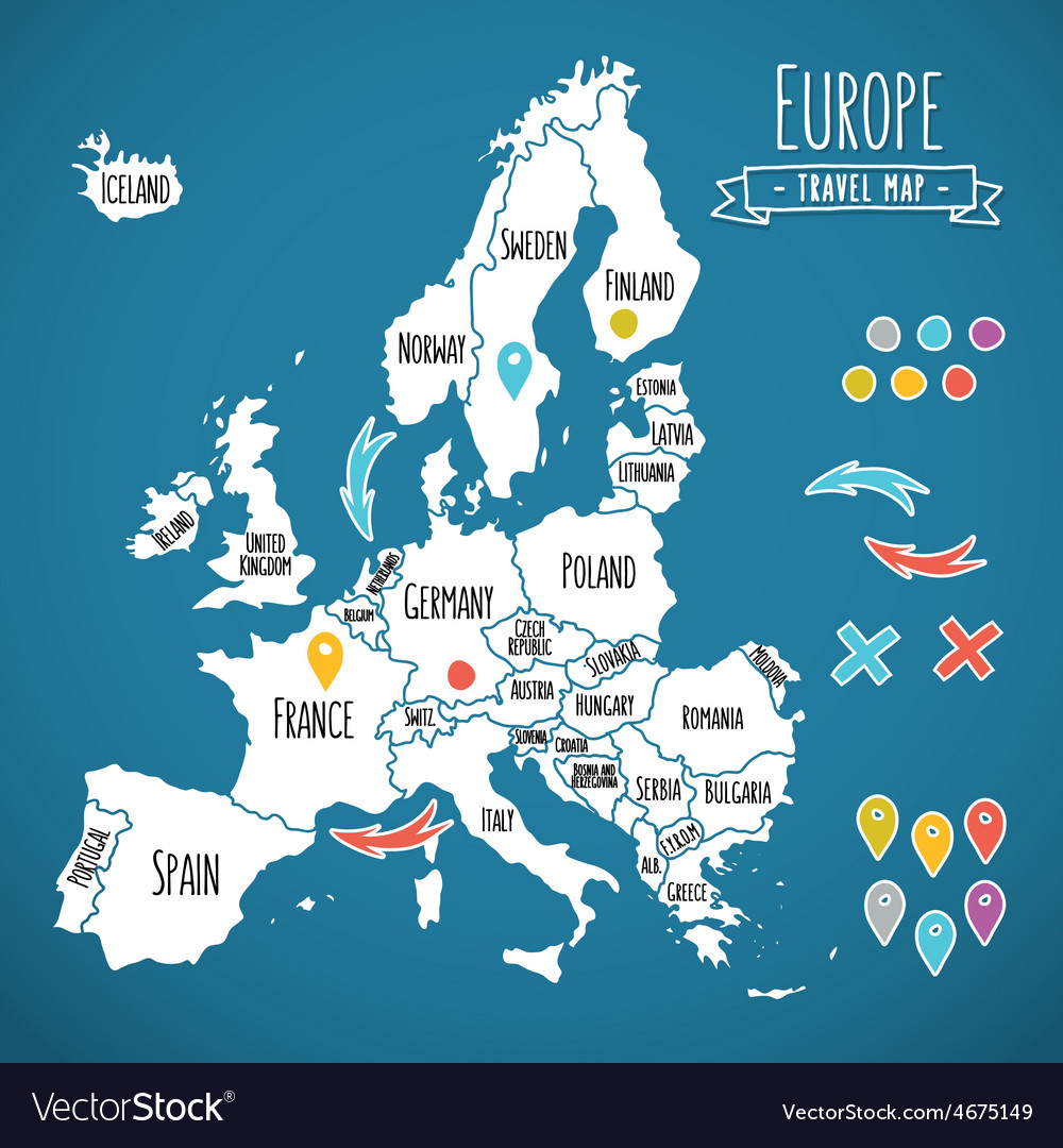 Hand drawn europe travel map with pins vector | Price: 1 Credit (USD $1)