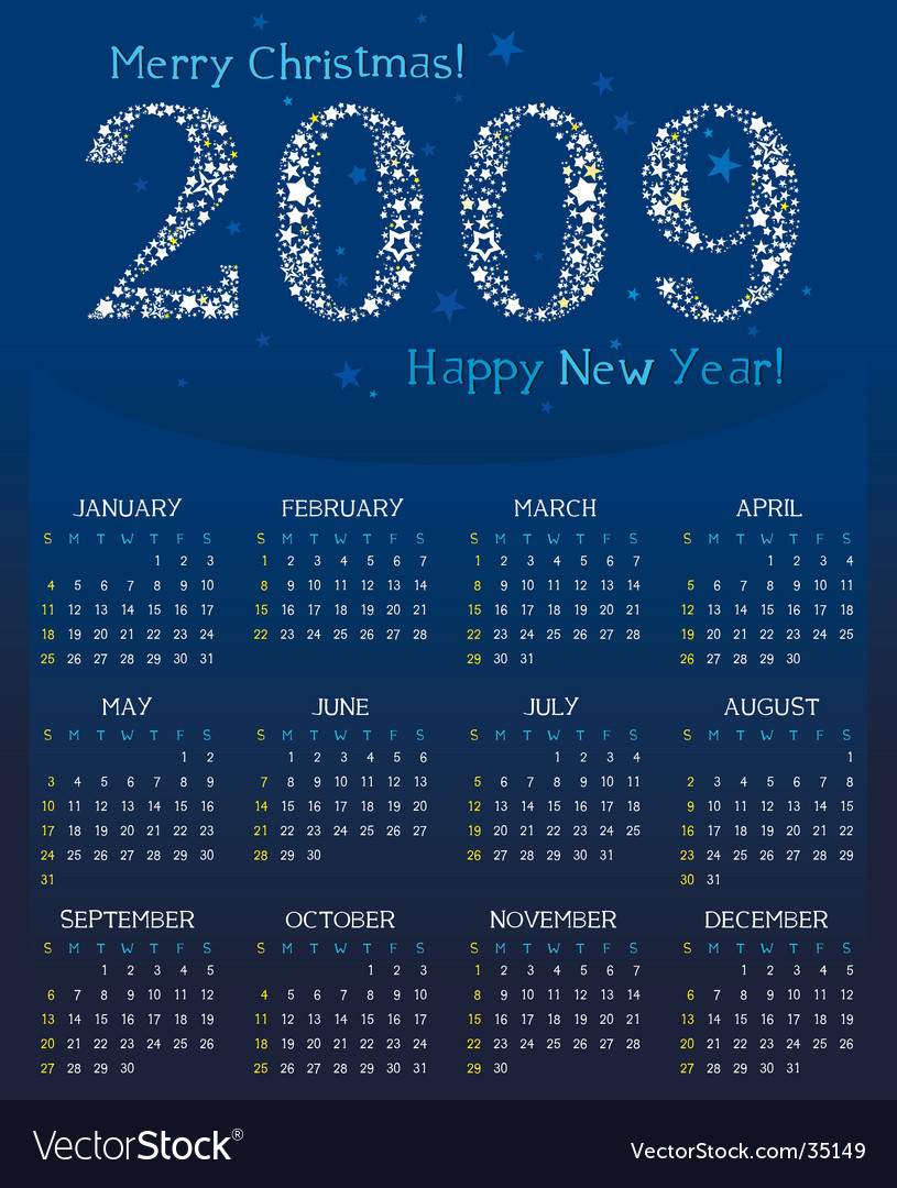 Magical calendar for 2009 vector | Price: 1 Credit (USD $1)