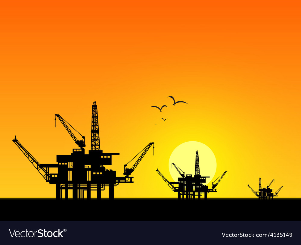 Oil derrick in sea vector | Price: 1 Credit (USD $1)