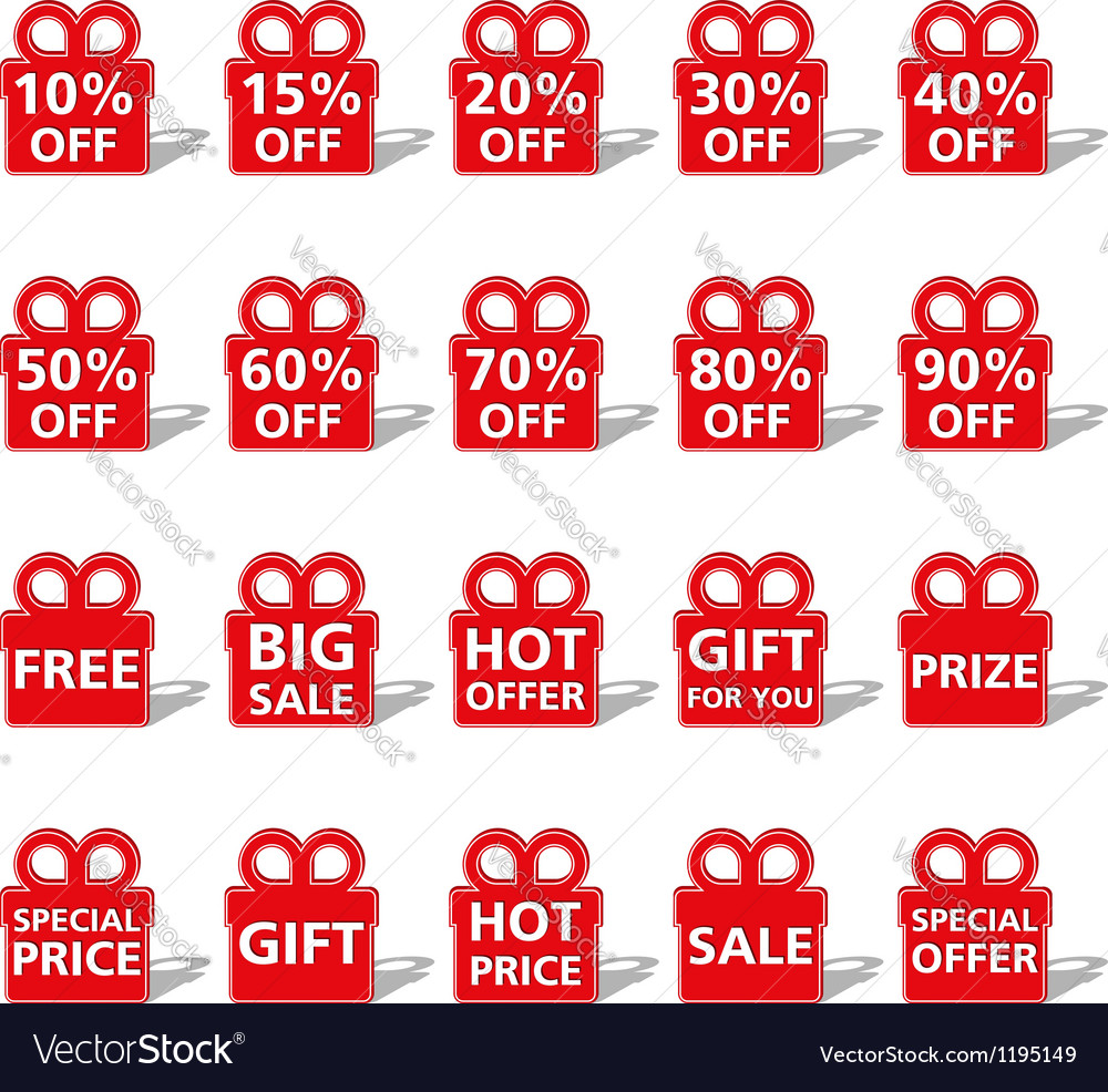 Sale banners shaped as gift box vector | Price: 1 Credit (USD $1)