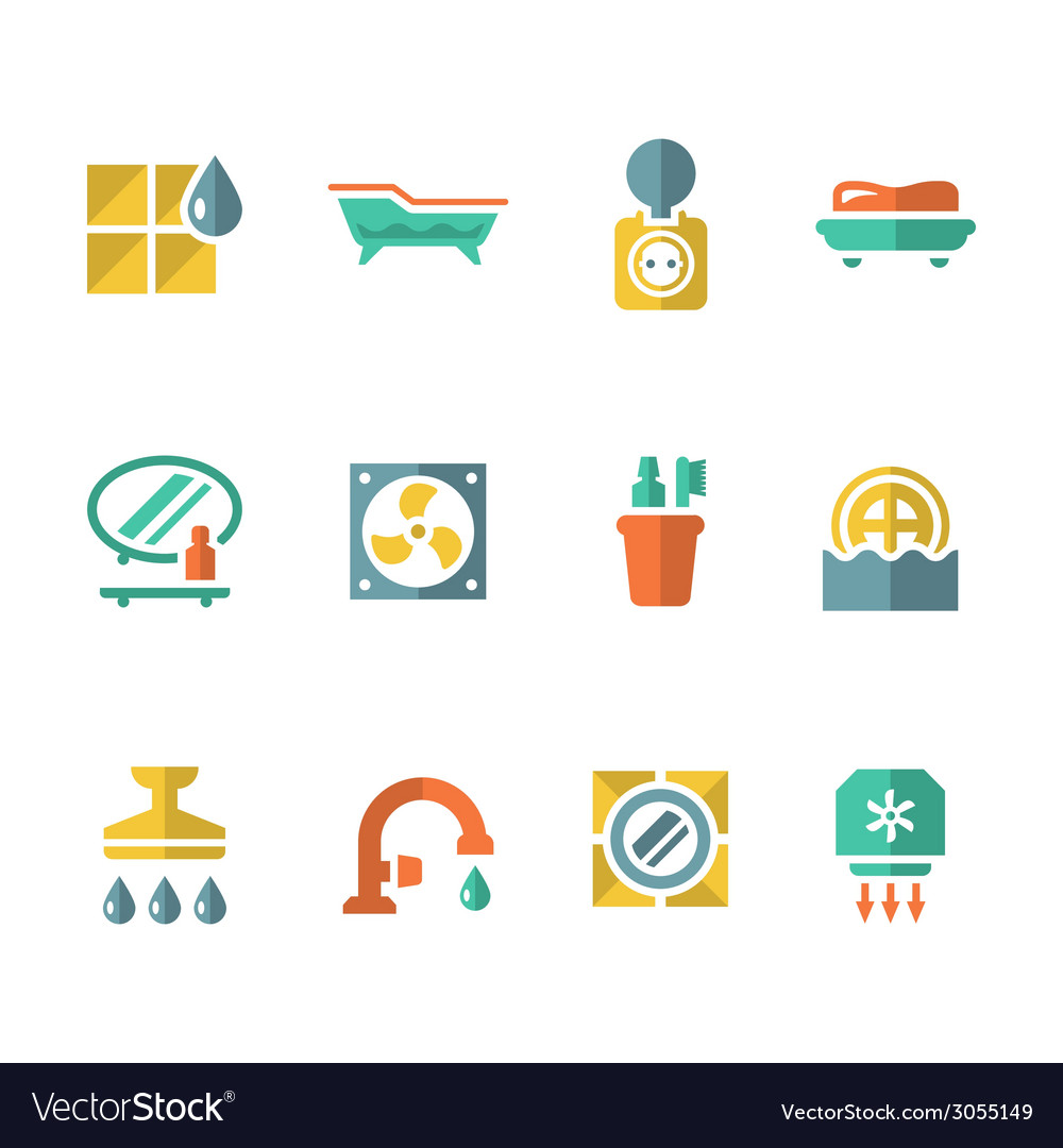 Set flat icons of bathroom vector | Price: 1 Credit (USD $1)