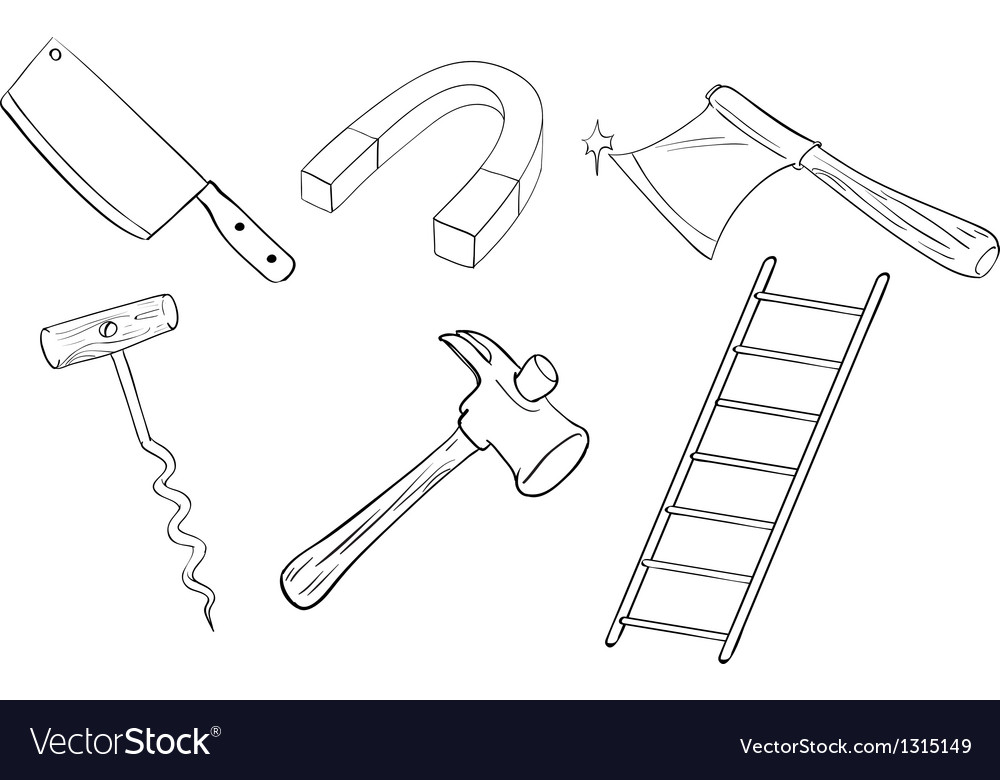 Six different kinds of tools vector | Price: 1 Credit (USD $1)