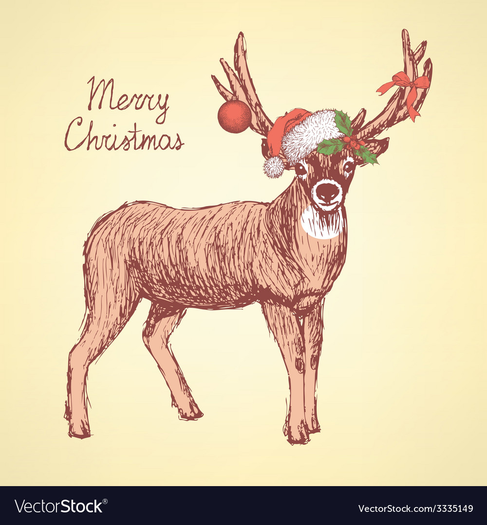 Sketch cute deer in vintage style vector | Price: 1 Credit (USD $1)