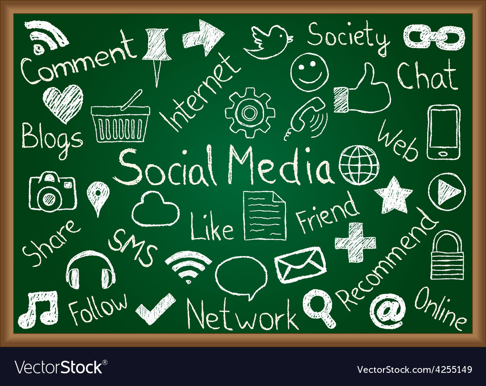 Social media icons and terms on chalkboard vector   Price: 1 Credit (USD $1)