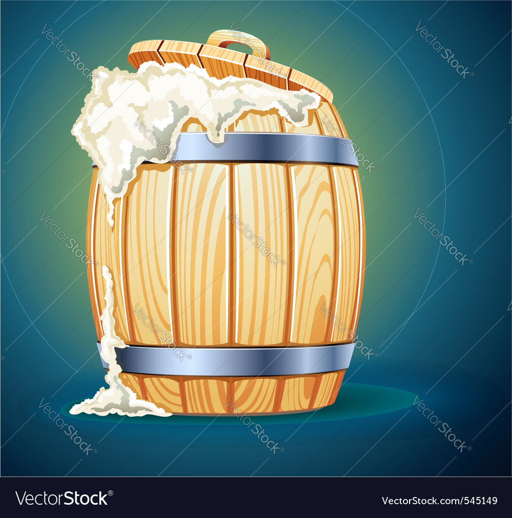 Wooden barrel full of beer vector | Price: 3 Credit (USD $3)