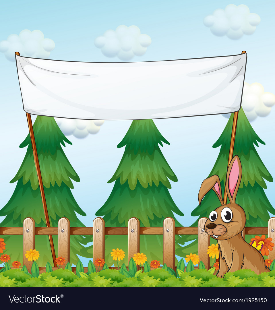 A rabbit near the wooden fence below the empty vector