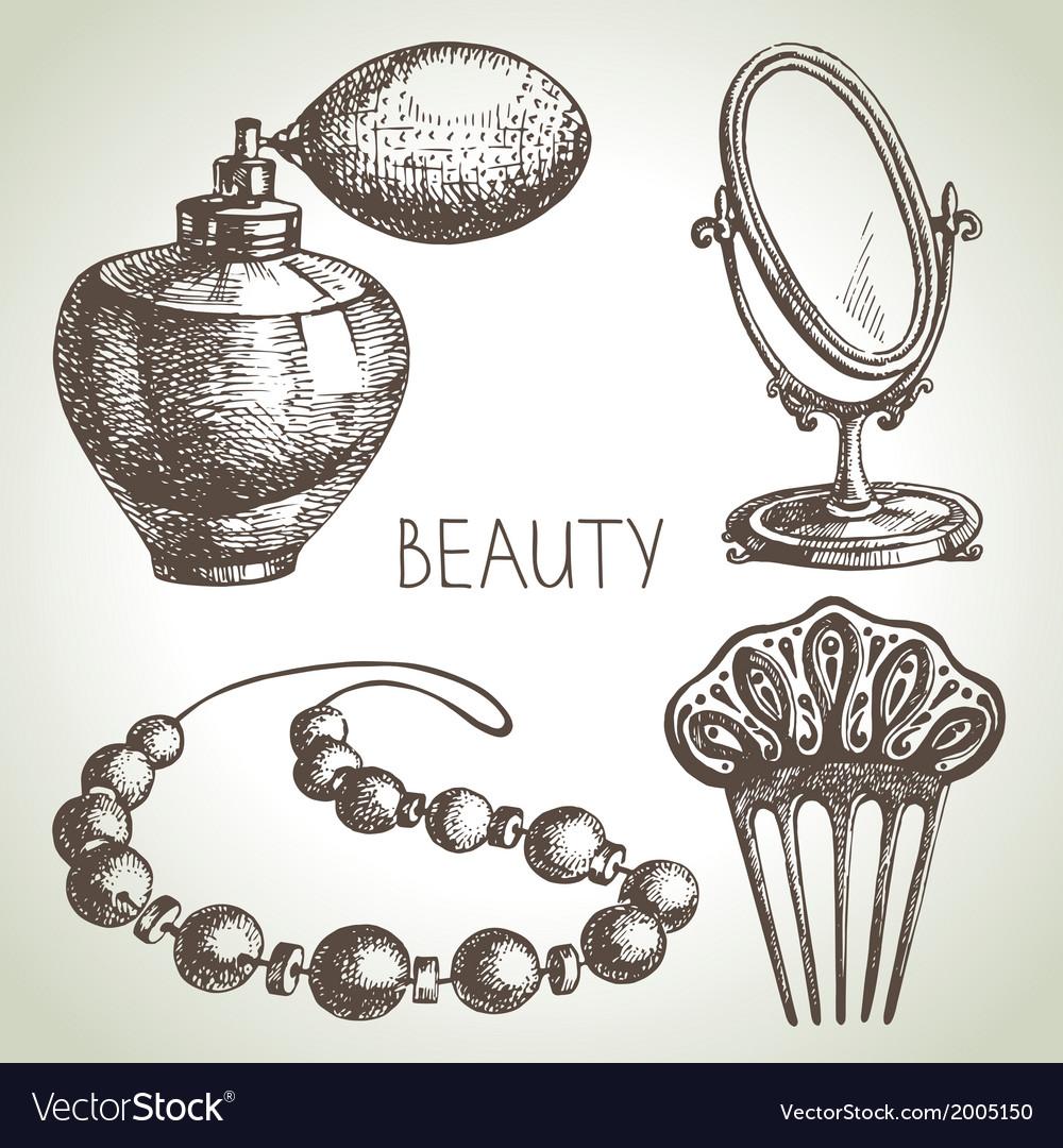 Beauty sketch icon set vector   Price: 1 Credit (USD $1)