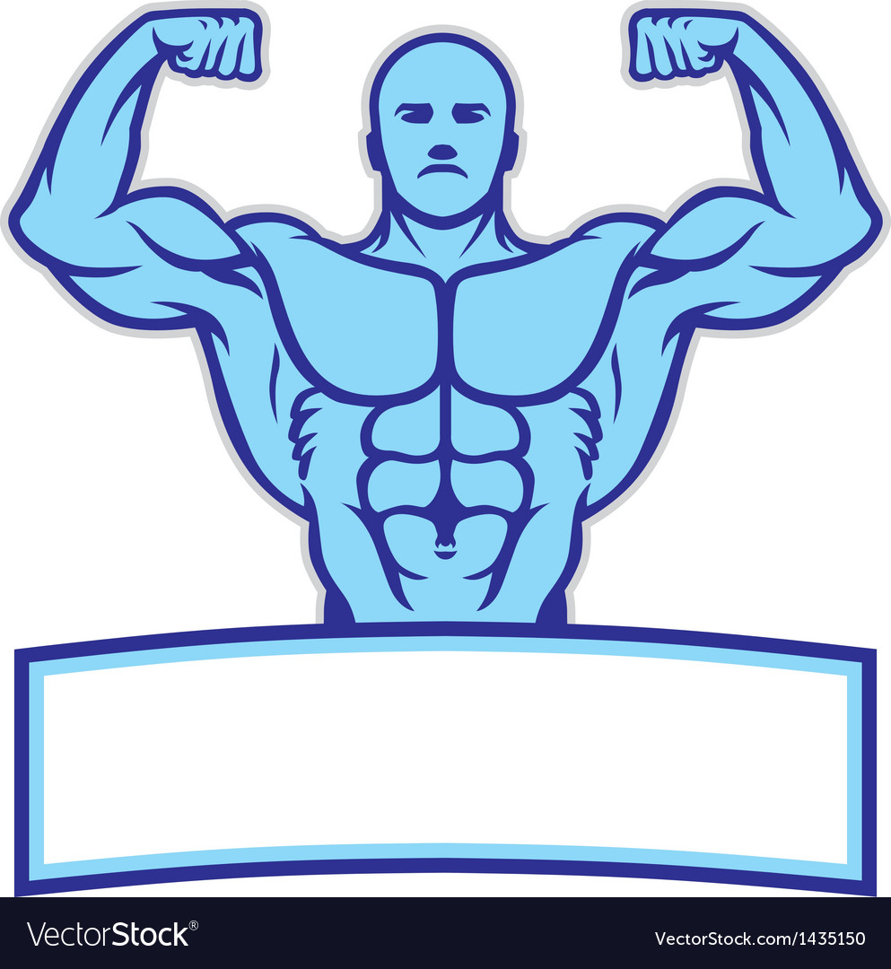 Bodybuilder mascot pose show his muscle vector | Price: 1 Credit (USD $1)