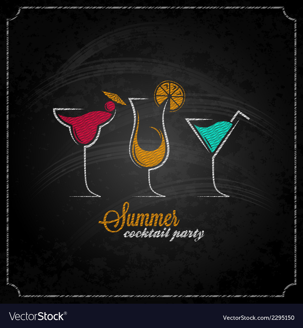 Cocktail summer party chalk design menu background vector | Price: 1 Credit (USD $1)