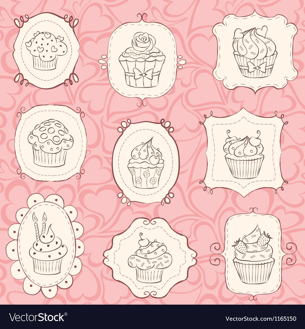 Frames cupcakes vector | Price: 1 Credit (USD $1)