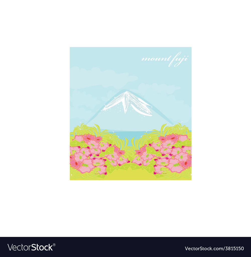 Fuji and morning sunrays landscape vector | Price: 1 Credit (USD $1)