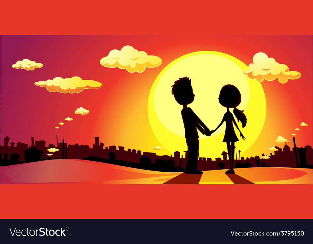 Lovers silhouette in sunset - vector   Price: 1 Credit (USD $1)