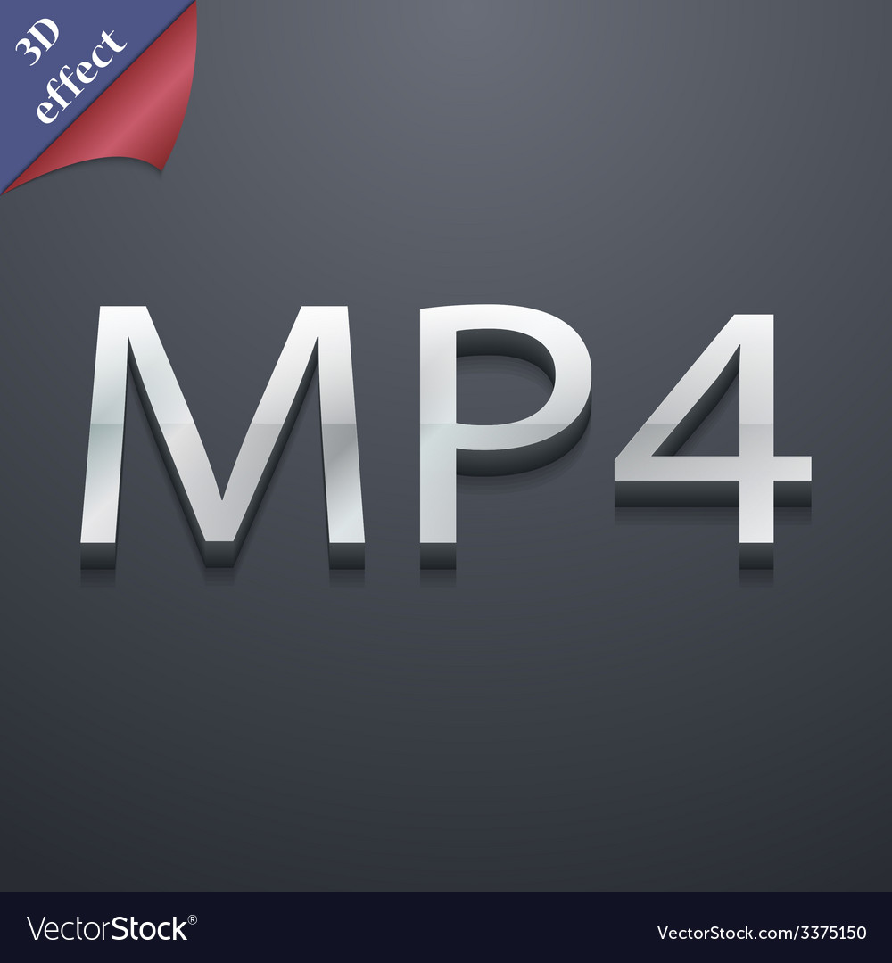 Mpeg4 video format icon symbol 3d style trendy vector | Price: 1 Credit (USD $1)