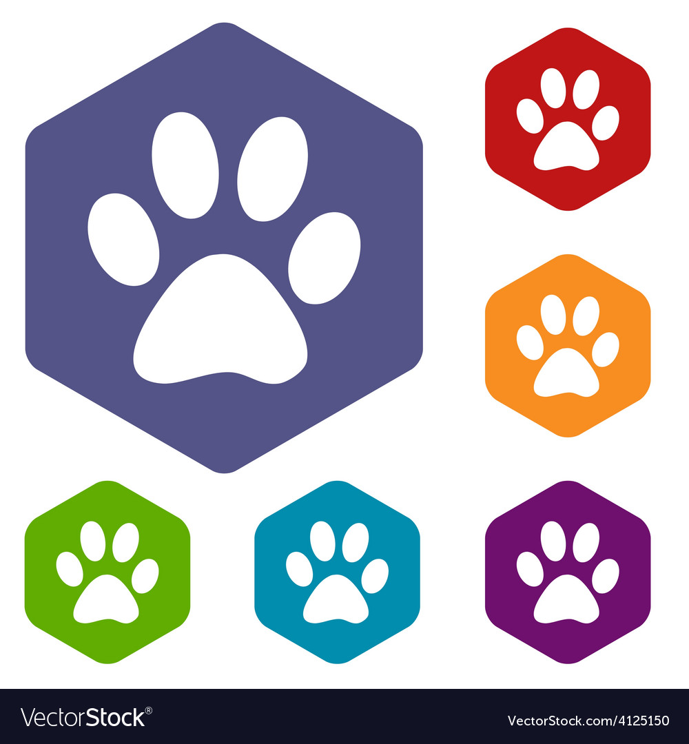 Paw rhombus icons vector | Price: 1 Credit (USD $1)