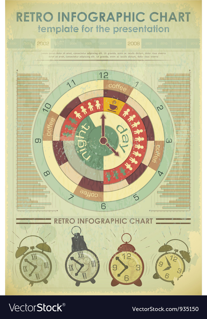 Time infographics retro vector | Price: 1 Credit (USD $1)