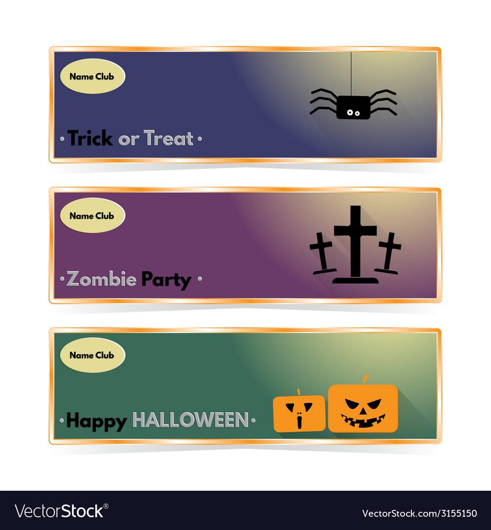 Website spooky header or banner set with halloween vector | Price: 1 Credit (USD $1)