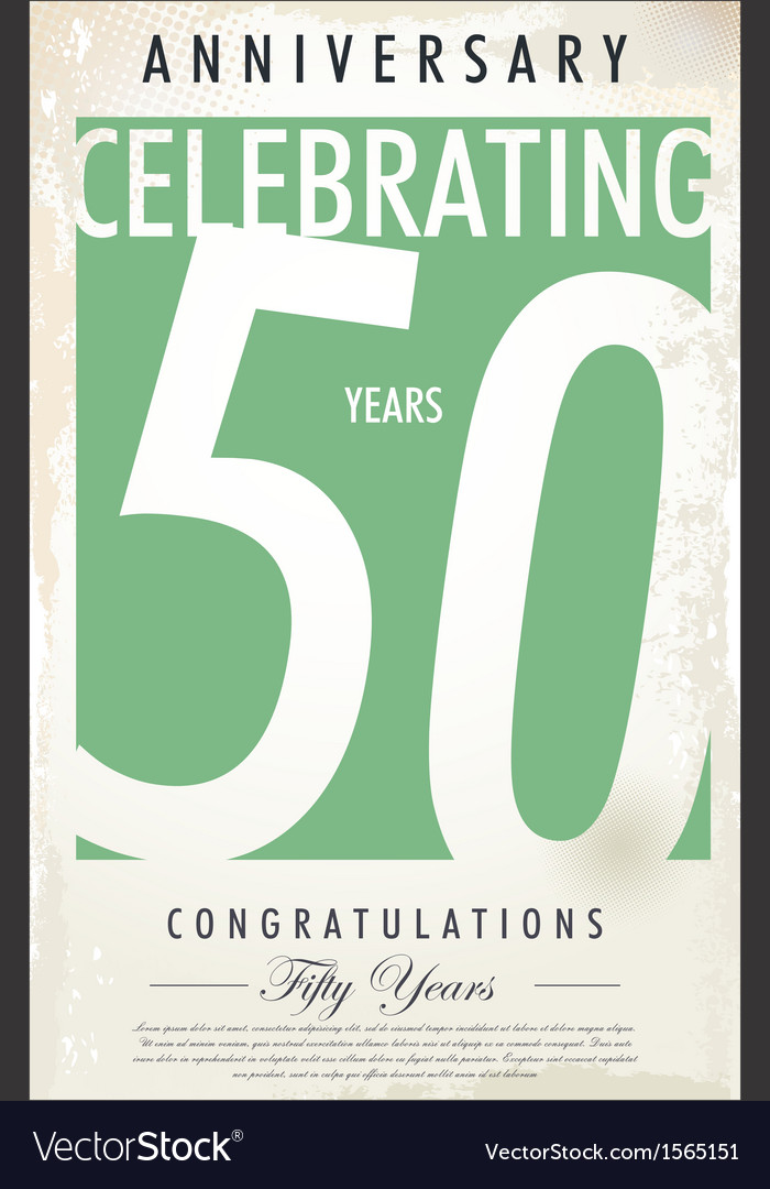 50 years anniversary retro background vector | Price: 1 Credit (USD $1)