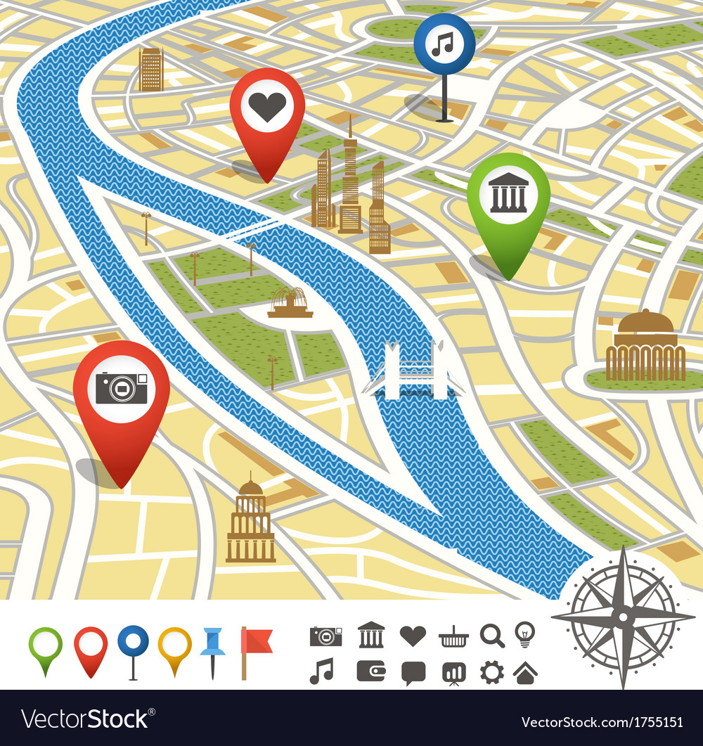 Abstract city map with places of interest vector   Price: 1 Credit (USD $1)