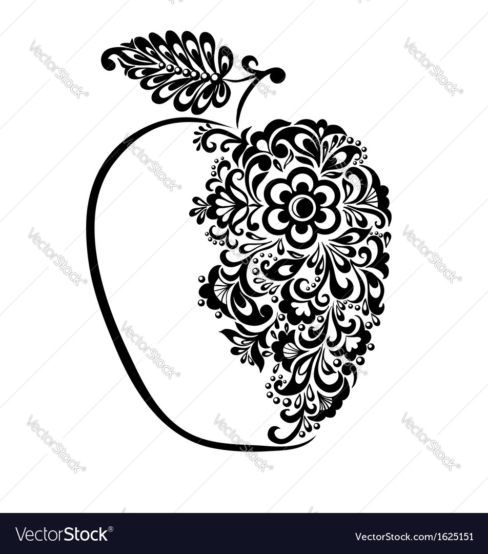 Black and white apple decorated floral pattern vector | Price: 1 Credit (USD $1)