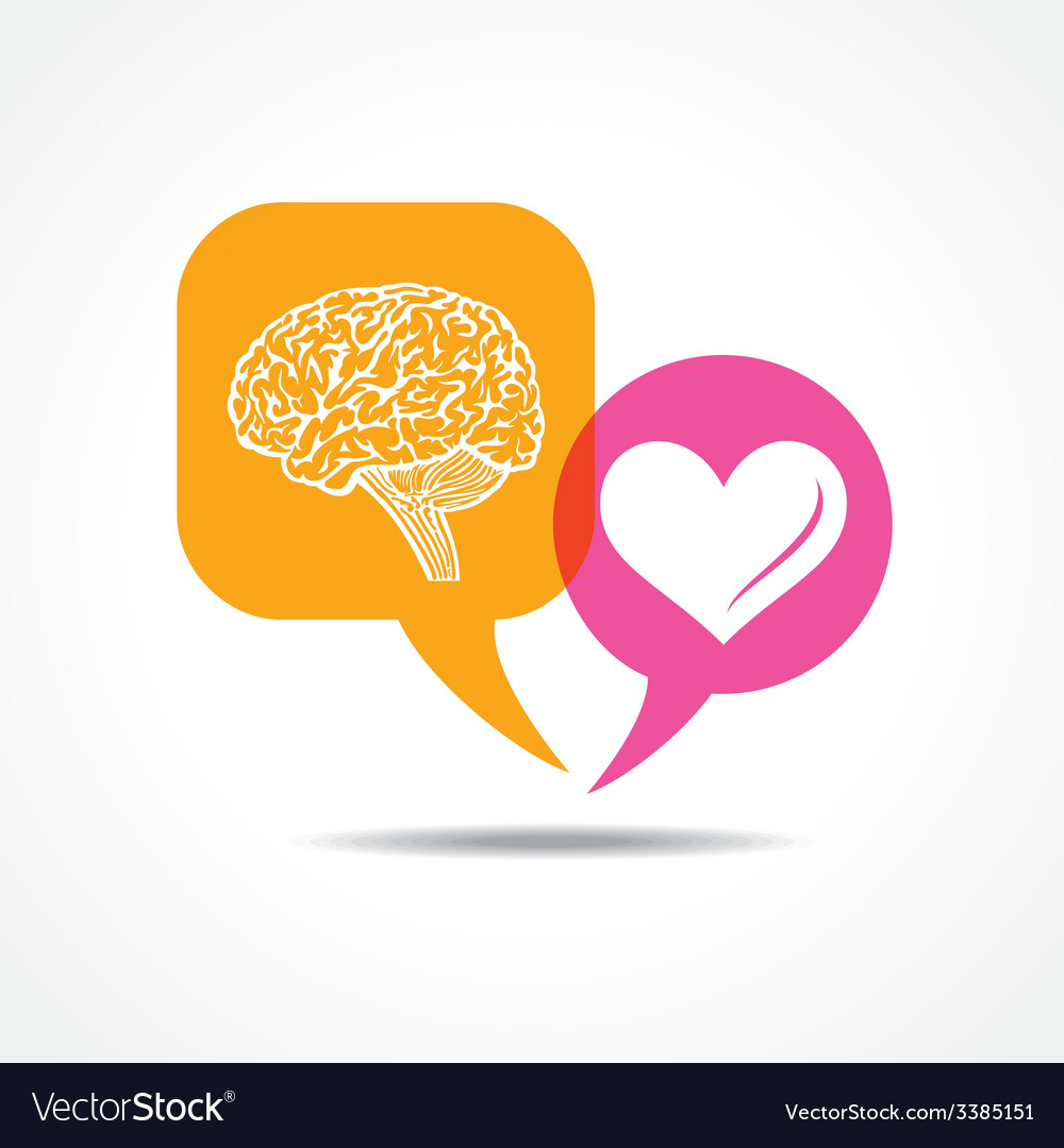 Brain and heart in message bubble vector | Price: 1 Credit (USD $1)