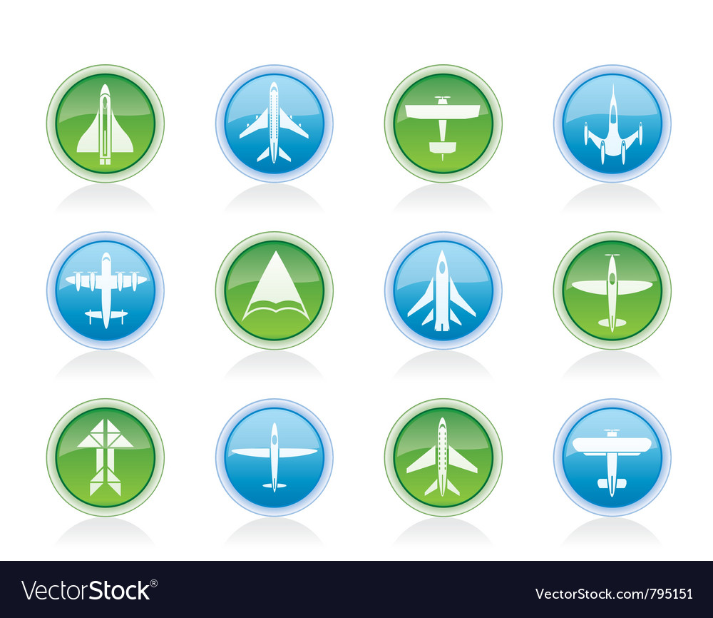 Different types of plane icons vector | Price: 1 Credit (USD $1)